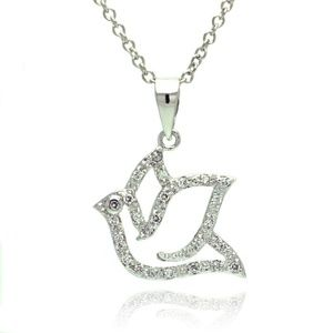 Jewelry - 925 Sterling Silver CZ Encrusted Dove Necklace